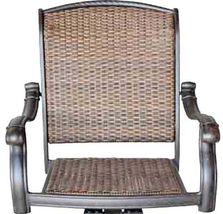 Outdoor bar stools Santa Clara wicker swivel set of 4 cast aluminum patio. image 3
