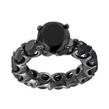 8 Carat Natural Black Diamond Full Eternity Band Engagement Ring 14K Black Gold - $1,188.00