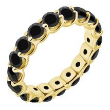 3 Carat Black Diamond Engagement Wedding U Shape Full Eternity Ring Yellow Gold - £330.97 GBP