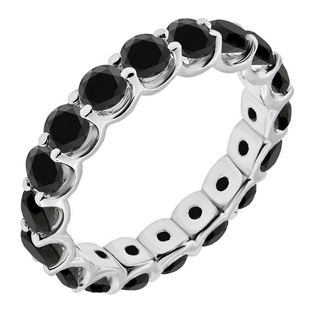 1 Carat Black Diamond Engagement Wedding U Shape Full Eternity Ring White Gold