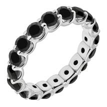 1 Carat Black Diamond Engagement Wedding U Shape Full Eternity Ring White Gold - $432.83