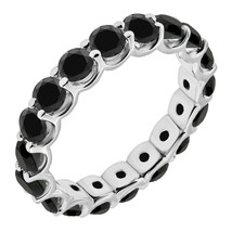 1 Carat Black Diamond Engagement Wedding U Shape Full Eternity Ring White Gold - £336.67 GBP