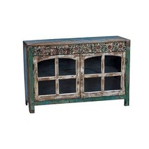 Beautiful Hand Carved Flowers Wood Buffet Sideboard,47.5''W X 32''H. - $1,282.05