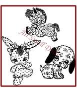 Vintage Pattern for 4 Cuddle Toys ~ Dog-Cat-Pony-Rabbit - $5.99