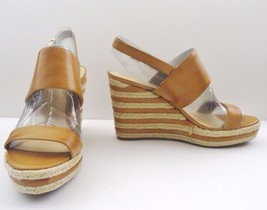 NIB Vince Camuto Loran Platform Wedge Sandal Leather Sz 11 M Tan Natural... - $62.32