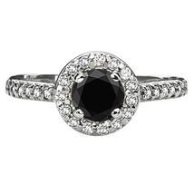EGL 1.75 Carat TW Black Diamond F-G VS2-SI2 Engagement Halo 14K White Go... - $986.03