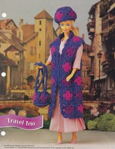 Travel Trio, Annie's Attic Fashion Doll Clothes Crochet Pattern Club FCC06-02 - $1.95