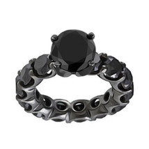 5.50 Carat Natural Black Diamond Full Eternity Band Bridal Ring 14K Black Gold - $960.10
