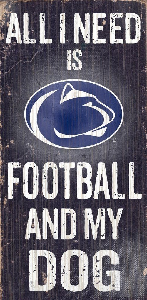 "PENN STATE NITTANY LIONS FOOTBALL & my DOG WOOD SIGN & ROPE 12"" X 6""  MAN CAVE!"