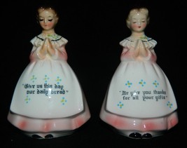 Vintage Ceramic/Porcelain Ladies Printed Grace on Dresses Salt & Pepper ... - $28.01