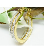Technibond Diamond Accented Inside Outside Hoop Gold Earrings 1 inch - $39.00