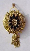 Stunning Antique Norman Ornate Watch Pendant Necklace 3-D Black Glass St... - $75.00