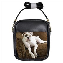 American Bulldog Leather Sling Crossbody Shoulder Bag - $14.54+