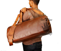 """24"""" Men's Genuine Vintage Leather Aircabin Travel Luggage Duffle Gym Bag - $103.18"""
