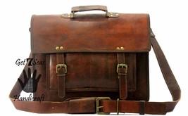 """16"""" leather messenger brown Shoulder laptop mens satchel vintage bag crossbody - $75.02"""