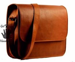 """16"""" leather messenger shoulder brown mens laptop satchel vintage bag crossbody - $84.97"""
