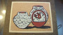 NAVAJO GLAZED PUEBLO POTTERY SAND ART FRAMED - $27.71