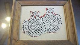 NAVAJO GLAZED OWL PUEBLO POTTERY SAND ART FRAMED - $27.71