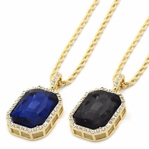 """Mens 14k Gold Plated 2 Piece Iced Out Cz w Rope Chains Set 3mm/30"""" Black... - £18.67 GBP"""