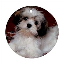 Cute Yorkshire Terrier Round Porcelain Ornament - Holiday Seasons - Pupp... - $7.71