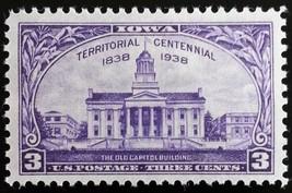 1938 3c Iowa Territory, The Old Capitol Building, 100th Scott 838 Mint F... - $1.09