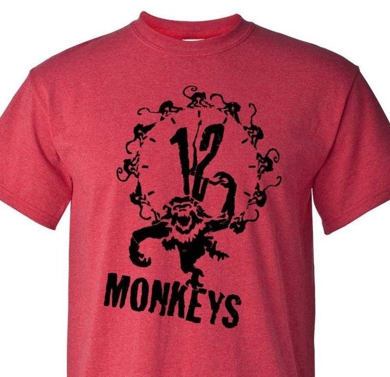 12 Monkeys T-shirt retro classic 90's sci-fi movie cotton blend heather red tee