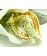 Technibond Simulated Apatite Hoop Gold Earrings 3/4 inch Length - $49.00