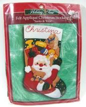 "Bucilla Stocking Kit Felt Applique Santa and Toys 84189 Xmas 18"" Sequin ... - $19.79"