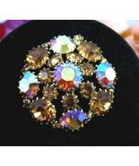 WEISS  Aurora Borealis Brown RHINESTONES Dome BROOCH Vintage Round Pin A... - $44.99
