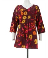 Isaac Mizrahi Wildflower Print V-Neck Tunic Russet Red L NEW A235276 - $42.55