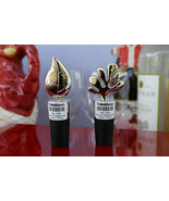 CRATE & BARREL TIGHT FIT, SILVER LEAF & FLORA BOTTLE STOPPERS - NWT  - $19.50