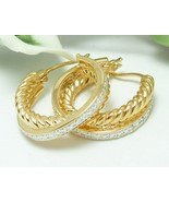 Technibond Diamond Accented Twist Rope Hoop Gold Earrings 1 inch - $47.00