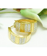 Technibond Diamond Accented Striped Hoop Gold Earrings 3/4 inch - $44.00