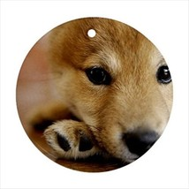 Shiba Inu Round Porcelain Ornament - Holiday Seasons - Puppy Dog - $7.71