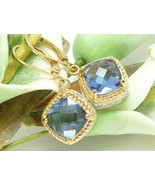 Technibond Simulated Faceted Tanzanite Gold Dangle Earrings 1.25 inch - $45.00