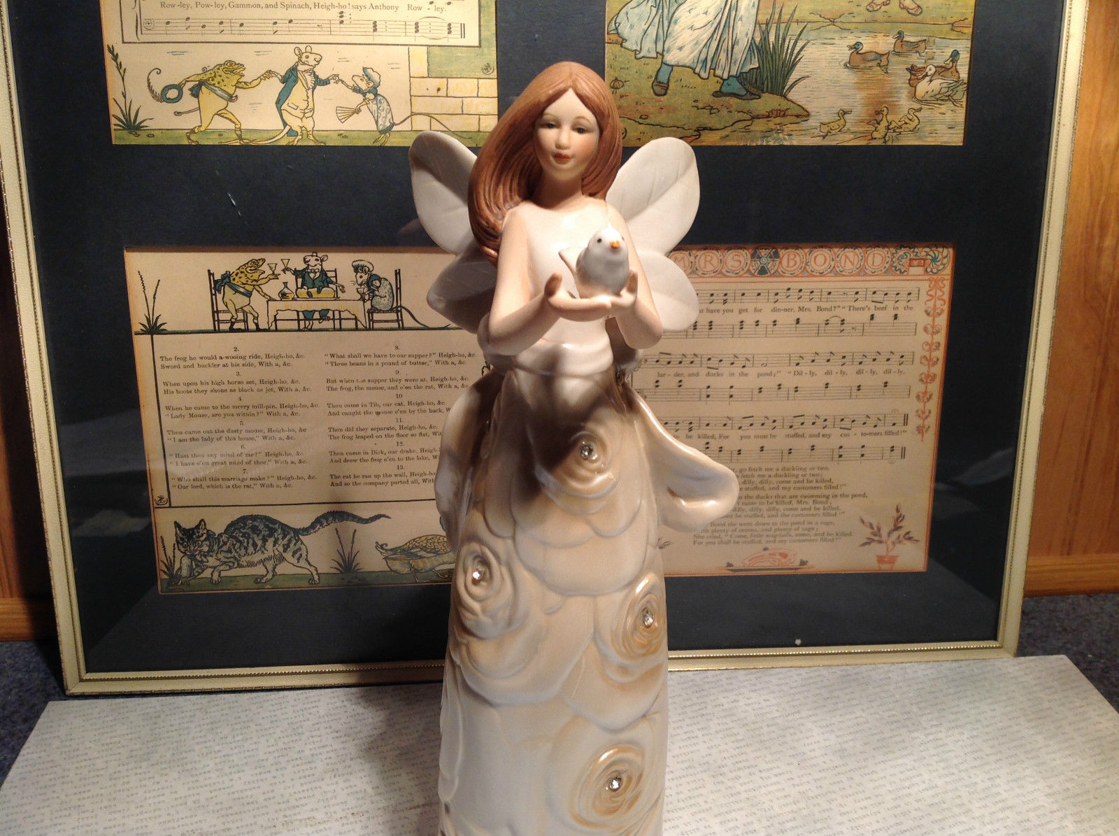 Angel Holding Bird Tall Rose Angel Porcelain Figurine Crystals on Dress