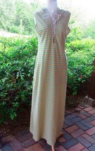 Vtg  Stripe Terry Velour Hooded Lounge Wear Maxi Dress Robe Pool Gown  EEUC - $34.65