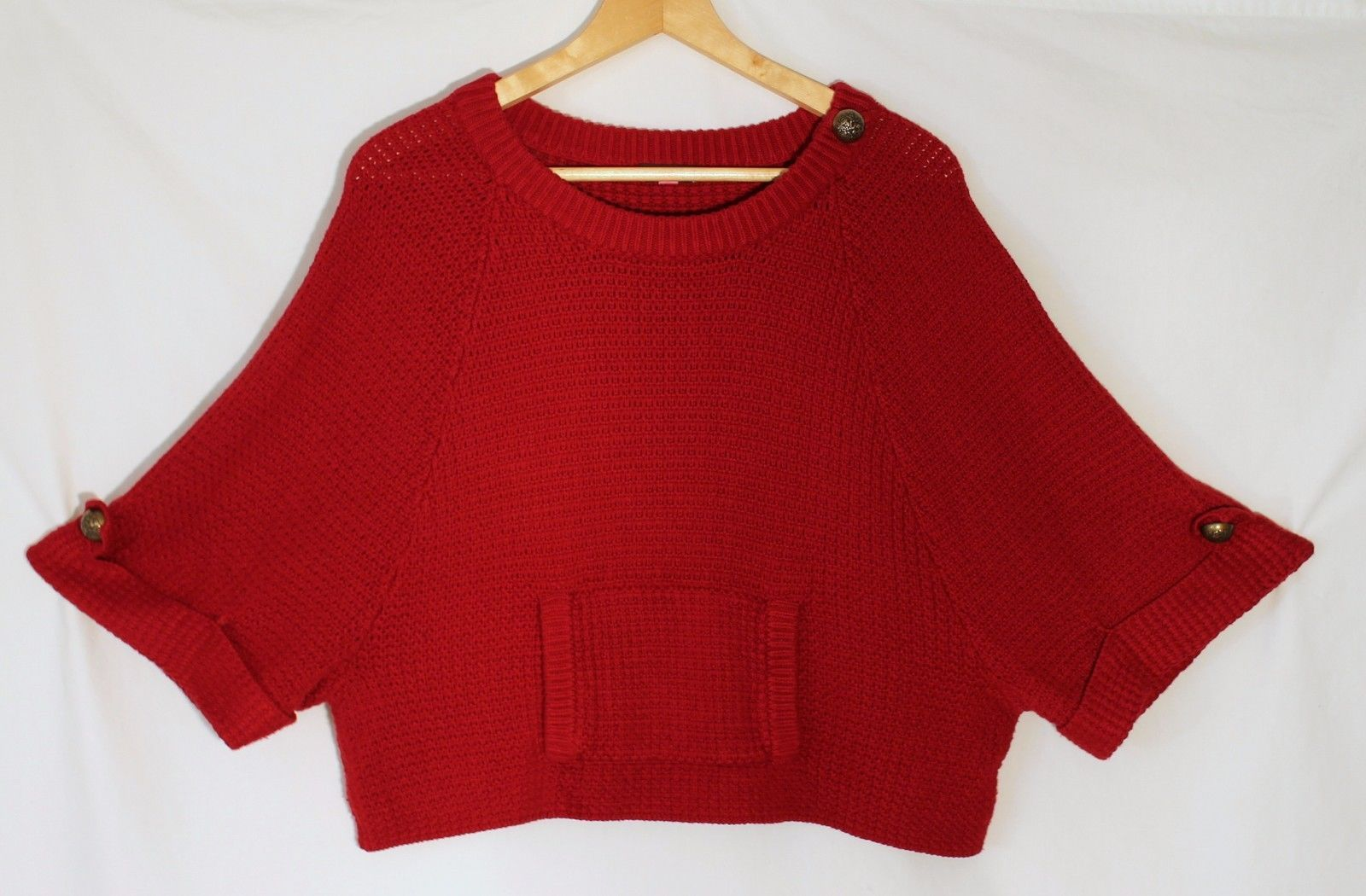7e72fc3b0c13 S l1600. S l1600. Previous. Vince Camuto Ruby Red Kangaroo Pocket Sweater  Cropped Dolman Short Sleeves ...