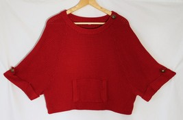 Vince Camuto Ruby Red Kangaroo Pocket Sweater Cropped Dolman Short Sleeves sz M - $22.80