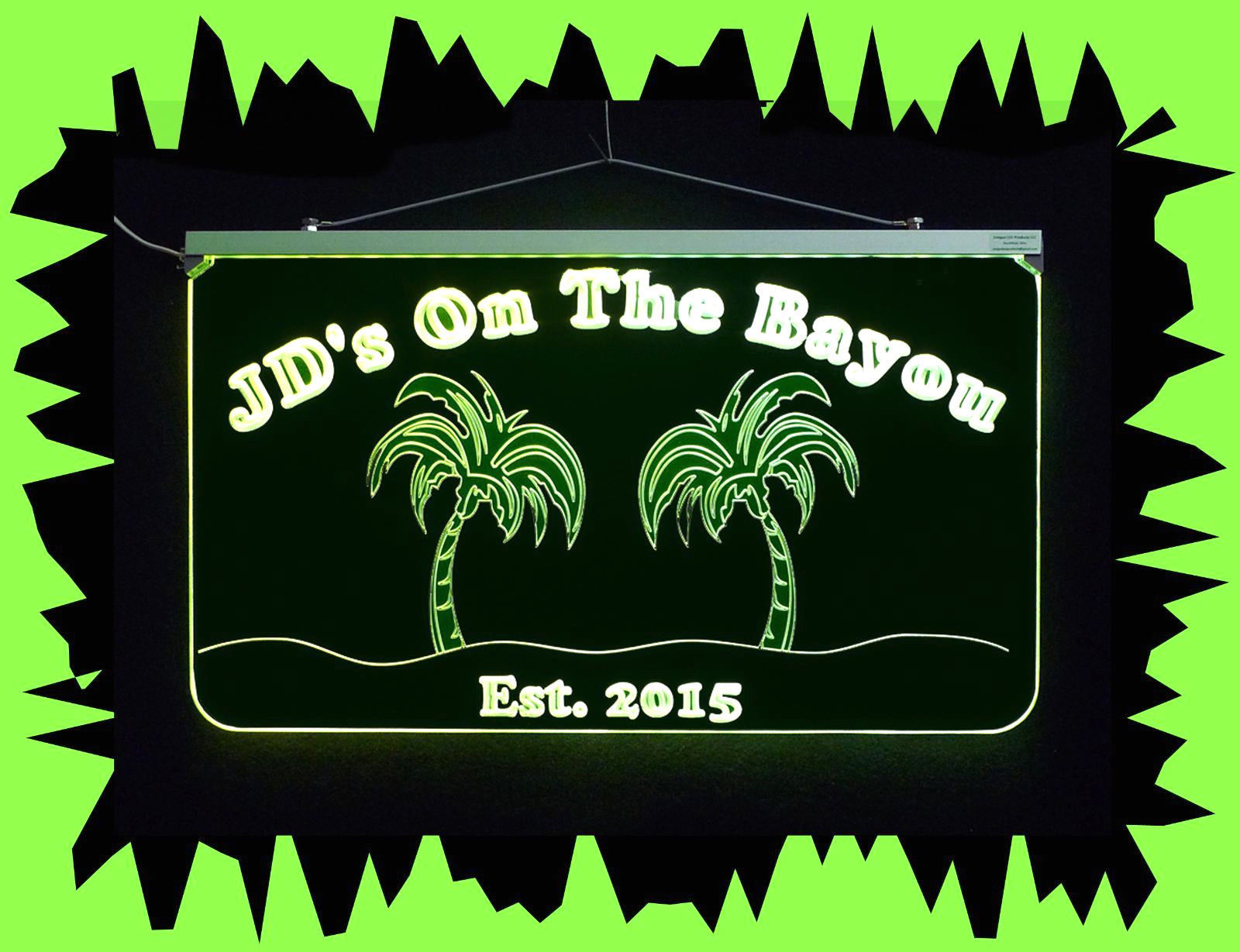 Personalized Bar Sign, Man Cave Sign - Handmade, Multicolor, Palm Trees