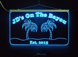 Personalized Bar Sign, Man Cave Sign - Handmade, Multicolor, Palm Trees image 2