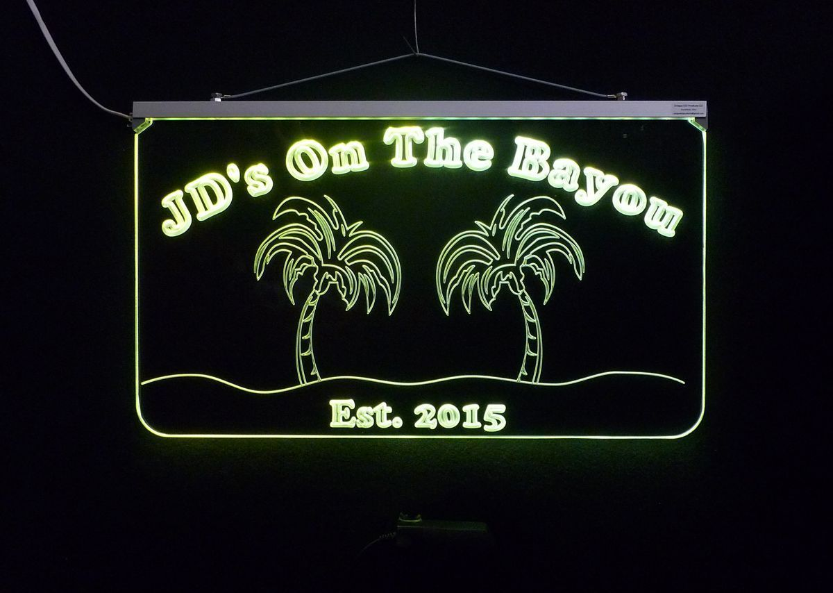 Personalized Bar Sign, Man Cave Sign - Handmade, Multicolor, Palm Trees image 3