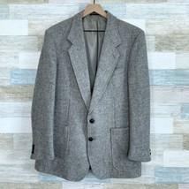 Harris Tweed Scottish Wool 2 Button Sport Coat Gray Patch Pocket Mens 44R  - $86.12