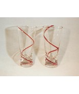 Handblown Red Swirl Glasses - Very Unique Items, Nice Condition! - $3.99