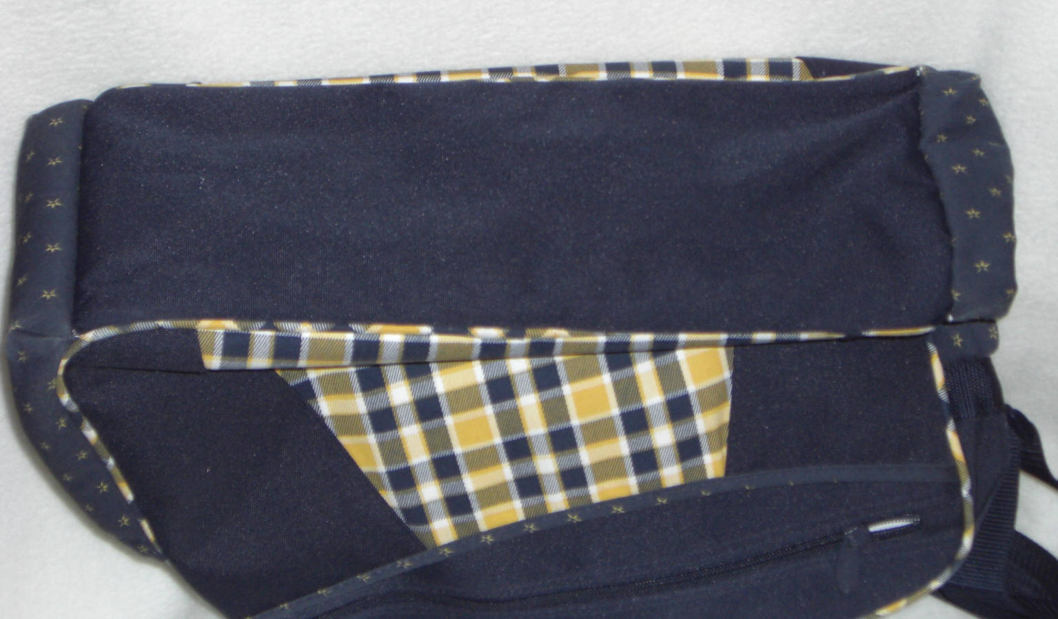 Graco Diaper Bag 16x12 Navy Blue with yellow plaid design Preowned
