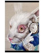 White Rabbit Time Pocket Watch- Fine Art Print Lithograph by Manuela Lai - $19.00