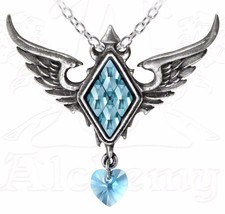 Ice Queen Frozen Blue Crystal Heart Winged Pendant Necklace P703 Alchemy... - $38.95