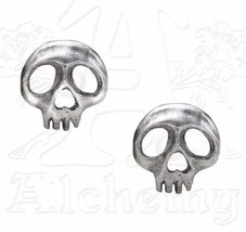 Skully Girl Skull Punk Surg Steel Studs Pewter EarringsPair E343 Alchemy Gothic - $17.50