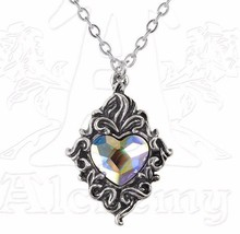 Rainbow Crystal Heart Exotic Ornate Beautiful Pewter Pendant P711 Alchem... - $24.95
