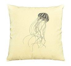 Vietsbay Zentangle stylized black jellyfish Printed Cotton Pillows Case ... - $15.99